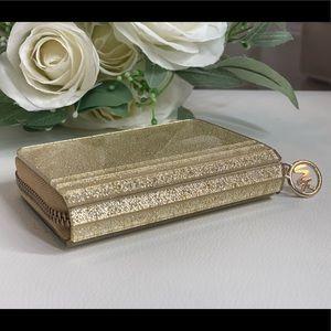 Michael Kors Gold Zip-Around Hard Case Wallet